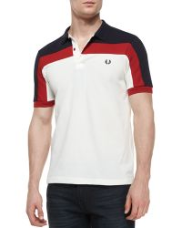 Fred Perry Contrast-Panel Pique Polo Shirt - Lyst
