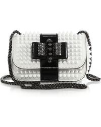 Christian Louboutin Sweet Charity Studded Two-Tone Leather Crossbody Bag white - Lyst