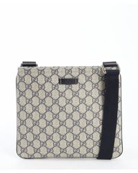Gucci Blue Leather Trimmed Gg Coated Canvas Zip Top Shoulder Bag - Lyst