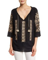Calypso St. Barth | Ernalta 3/4-sleeve Embroidered Top | Lyst