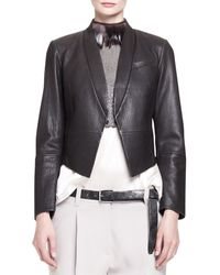 Brunello Cucinelli Pebbled Leather Cropped Tux Jacket with Pockets - Lyst