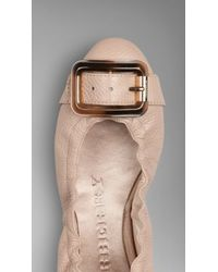 Burberry Buckle Detail Deerskin Leather Ballerinas - Lyst