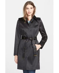 Via Spiga Belted Satin Trench Coat - Lyst