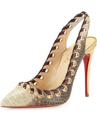 Christian Louboutin Ostri Python Red Sole Slingback Pump - Lyst