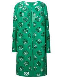 Alexander McQueen Floral Cut Out Coat green - Lyst