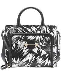 Jason Wu Black And White Leather 'Daphne 2' Tropical Print Convertible Tote - Lyst