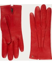 Bally - Leather Gloves Women's Nappa Leather Gloves In Cousteau Red - Lyst