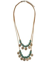 Topshop Fabric And Coin Drop Necklace - Lyst