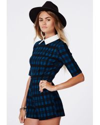 Missguided Britney Checked Contrast Collar Romper Blue - Lyst
