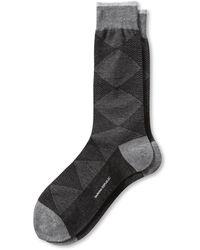 Banana Republic Luxe Mixed Argyle Sock Black - Lyst
