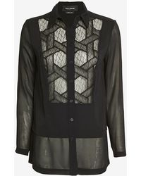 Yigal Azrouel Lace Tux Silk Blouse - Lyst