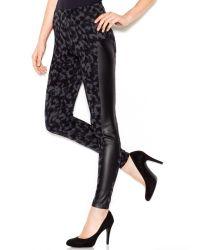 Kensie Low Rise Printed Faux Leather Leggings - Lyst