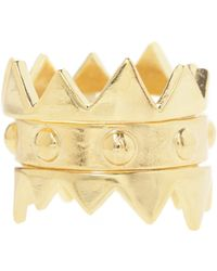 Jill Golden Crown Stacking Rings gold - Lyst