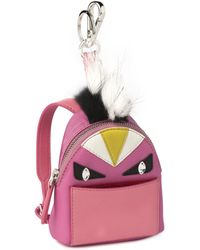 Fendi | Mini Monster Nylon, Leather & Fur Backpack Key Charm | Lyst