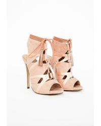 Missguided Valentina Lace Up Tassel Heeled Sandals Blush - Lyst
