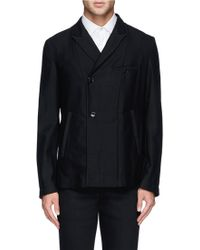 Ann Demeulemeester Off-Centre Placket Hemp-Fleecewool Blazer - Lyst