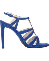 Prada Metallic Strappy Platform Sandals - Lyst
