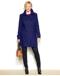 Anne Klein - Plus Size Double-Breasted Wool-Blend Coat - Lyst