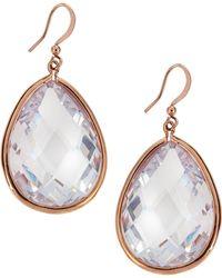 Panacea Rose-golden Cz Teardrop Earrings - Lyst