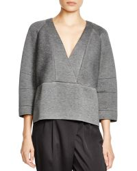 INTROPIA - V-neck Seamed Sweatshirt - Lyst
