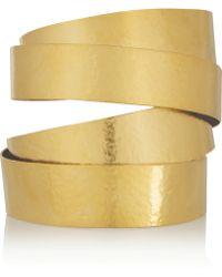 Herve Van Der Straeten - Hammered Gold-Plated Cuff - Lyst
