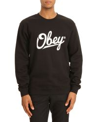 Obey Jordaan Black Sweater with White Print - Lyst