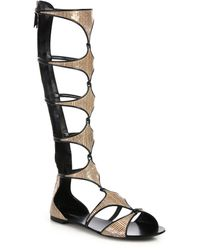 Casadei Striped Snake-Embossed Leather Knee-High Sandals - Lyst