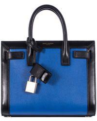 Saint Laurent Blue And Black Sac De Jour Nano Bag - Lyst