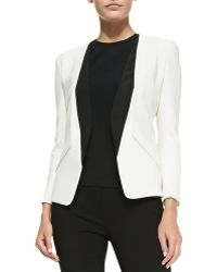 Narciso Rodriguez Collarless Blazer With Silk Inserts - Lyst