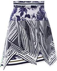 Preen Printed Crepe Viscose Alitah Skirt in Navy Flower Scarf - Lyst