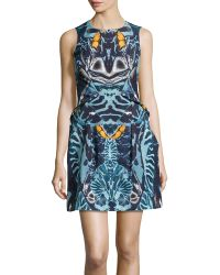 McQ by Alexander McQueen Sleeveless Abstractprint Pleated Knit Dress - Lyst