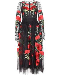 Dolce & Gabbana Embroidered Tulle Dress - Lyst