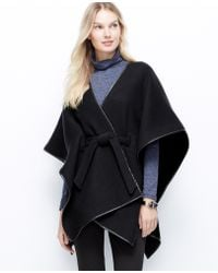 Ann Taylor Faux Leather Trim Belted Cape - Lyst