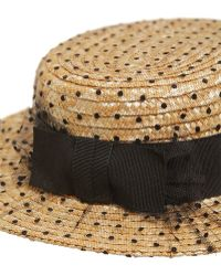 Kreisi Couture - Sophie Tulle Overlay Straw Boater Hat - Lyst