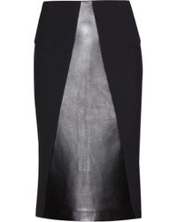 Roland Mouret Nomada Leather and Woolblend Skirt - Lyst