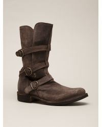 Fiorentini + Baker Brown Buckle Boots - Lyst