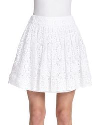 Alice + Olivia Gilberto Lace Box Pleat Skirt - Lyst