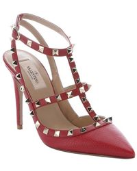 Valentino Red Leather 'Rockstud' T-Strap Slingback Pumps - Lyst