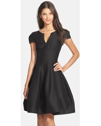 Halston Heritage Cotton & Silk Fit & Flare Dress - Lyst