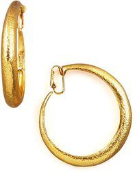 Jose & Maria Barrera Hammered Golden Clip-On Hoops - Lyst
