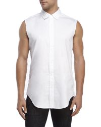 Shades of Grey by Micah Cohen - Sleeveless Raw Edge Shirt - Lyst