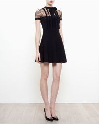 Valentino Stretch-Knit Dress With Lace Panels - Lyst