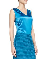 St. John Collection Stretch Silk Charmeuse Vneck Shell with Ruched Side - Lyst