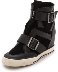 DKNY Cala Wedge Sneakers  Black - Lyst