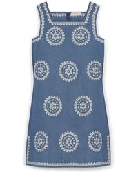 Tory Burch Embroidered Chambray Dress - Lyst