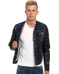 DSquared² Leather Sleeves Biker Jacket - Lyst