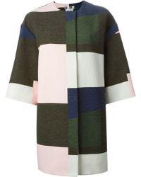 MSGM Oversize Colour Block Coat - Lyst