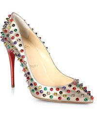Christian Louboutin Studded Metallic Leather Pumps multicolor - Lyst
