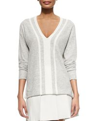 Vince Cashmere Two-Tone V-Neck Sweater white - Lyst