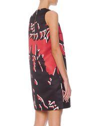 Marni Macrofloralprint Satin Shift Dress Hot Red - Lyst